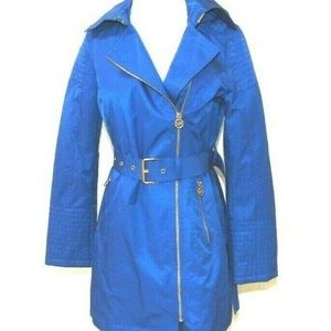 Womens  Blue Rain Jacket Coat Belted Hood